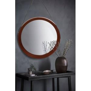Trendy kulaté zrcadlo v měděné barvě s černým závěsným popruhem