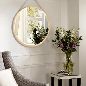 Moderní závěsné zrcadlo v dřevěném rámu