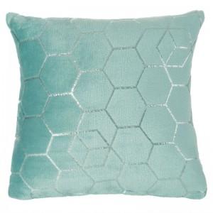 Ozdobní dekorační povlak v mentolové barvě se stříbrnými vzorem