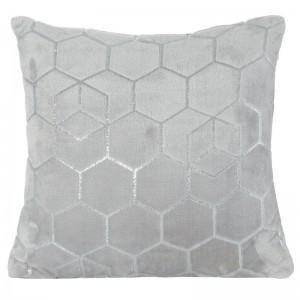 Šedý dekorační povlak na polštář se stříbrnou aplikací 40x40