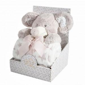 Krásné dárkové balení dětská hřejivá deka s plyšovou hračkou slona