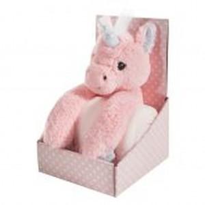 Růžová dětská deka pro holčičku v dárkovém balení s jednorožcem