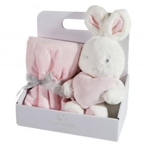 Elegantní dárkové balení růžová dětská deka s hračkou zajíčka