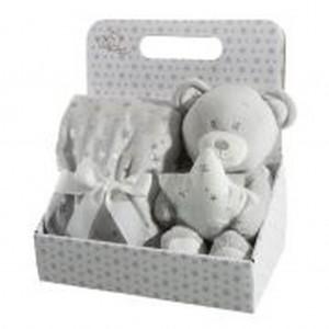 Dárková sada pro dítě hřejivá šedá deka a plyšová hračka medvídka