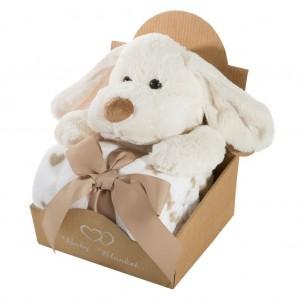 Bílá dětská deka se srdíčky a hračkou pejska v dárkovém balení