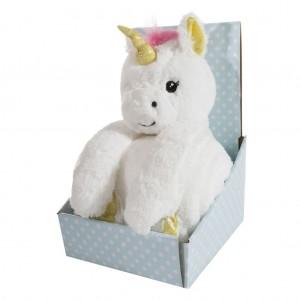 Hřejivá bílá dětská deka s hračkou jednorožce v dekorativní krabici