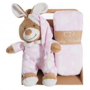 Elegantní růžová dárková sada pro holčičku deka a plyšová hračka