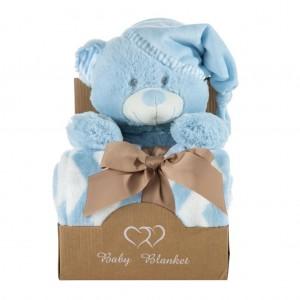 Krásná modrá dárková sada pro chlapečka deka a plyšová hračka