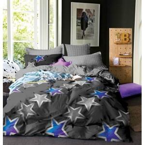 Luxusní oboustranné povlečení v šedé barvě s motivem hvězd