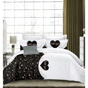 Krásné oboustranné ložní povlečení bílo černé LOVE YOU