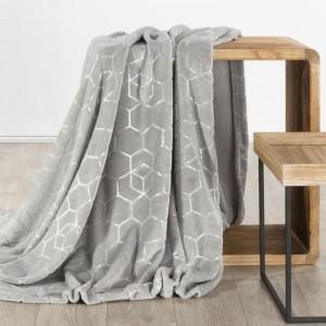 Světle šedá hřejivá deka z mikrovlákna se stříbrným vzorem