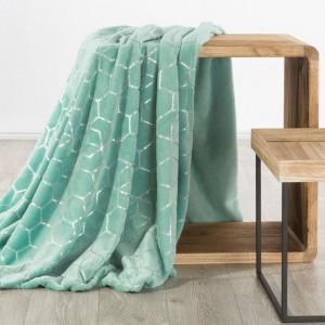 Luxusní hřejivá deka v trendy mentolové barvě se stříbrným vzorem