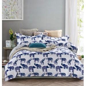 Bílo modré povlečení oboustranné s motivem slonů