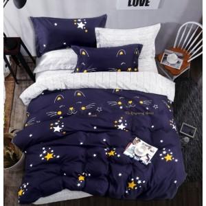 Krásné oboustranné povlečení modré s motivem hvězd a kočky