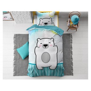 Bílo modré dětské ložní povlečení s motivem medvídka