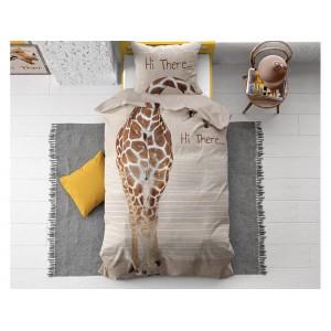 Originální dětská béžovo hnědé bavlněné povlečení s motivem žirafy