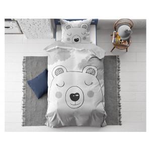 Dětské šedé bavlněné ložní povlečení s motivem spícího medvídka