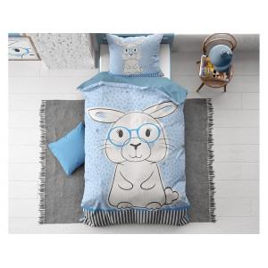 Krásné modré dětské ložní povlečení s velkým motivem zajíce
