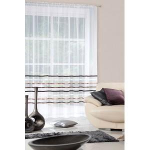 Krémová záclona do obývacího pokoje v krémové barvě s hnědo zlatými pruhy
