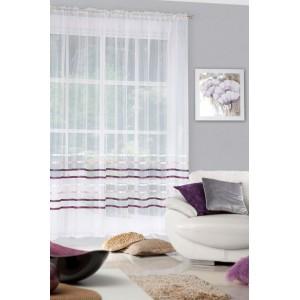 Stylová dlouhá nařasená záclona krémové barvy s fialovými pruhy