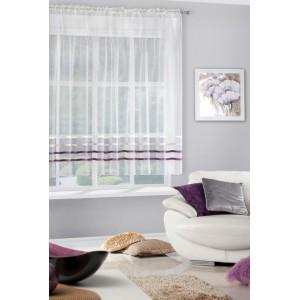 Krémová záclona krátká s ozdobnými horizontálními fialovými pruhy