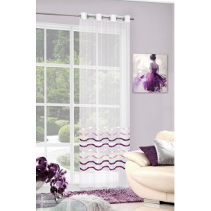 Ozdobná hotová dekorativní krémová záclona s fialovými lesklými pruhy