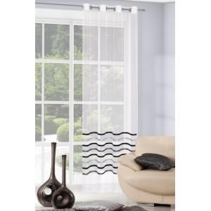 Hotová záclona do obývacího pokoje s lesklými šedě černými pruhy