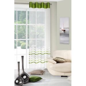 Stylová krémově zelená záclona s dekorativními lesklými pruhy
