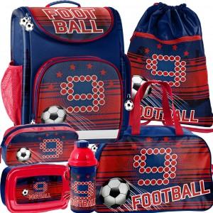 Šest dílná sada ergonomické školní tašky pro chlapce fotbal