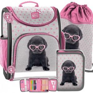Třídílná školní taška pro dívky se psem se srdíčkovými brýlemi