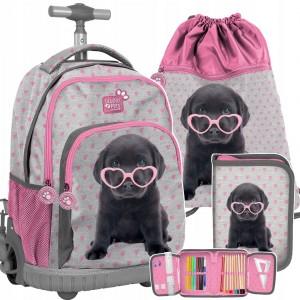 Dívčí růžová školní taška na kolečkách v trojsada s motivem psa