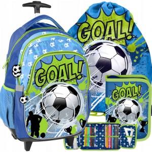 Stylová školní taška na kolečkách pro chlapce fotbalisty v troj kombinaci