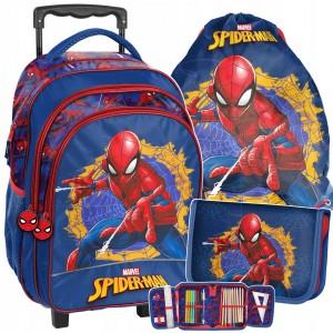Originální školní taška spiderman kufr na kolečkách v trojkombinaci