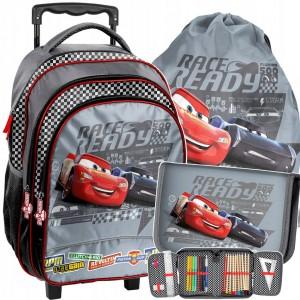 Trojčastková sada disney školní tašky CARS na kolečkách s ručkou