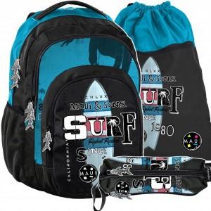 Kvalitní školní batohy pro středoškoláky v trojsadě s motivem surfu