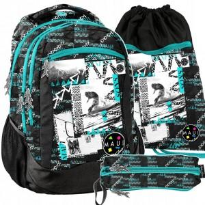Stylový školní batoh pro chlapce v trojkombinaci s motivem snowboard