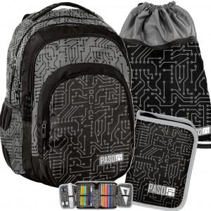 Černo šedý batoh pro středoškoláky v sadě s vakem a penálem