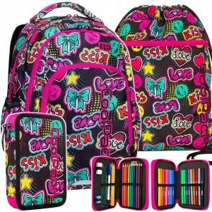 Tříčlenný krásný školní batoh pro dívky s motivy kiss a emogi