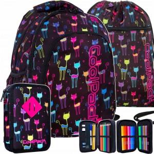 Školní taška batoh pro dívky v tříčlenné sadě s motivem koček