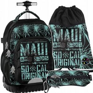 Kvalitní školní batoh na kolečkách v kombinaci s penálem a vakem