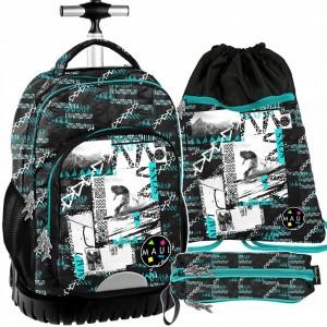 Třídílný školní batoh na kolečkách s výsuvnou rukojetí pro chlapce