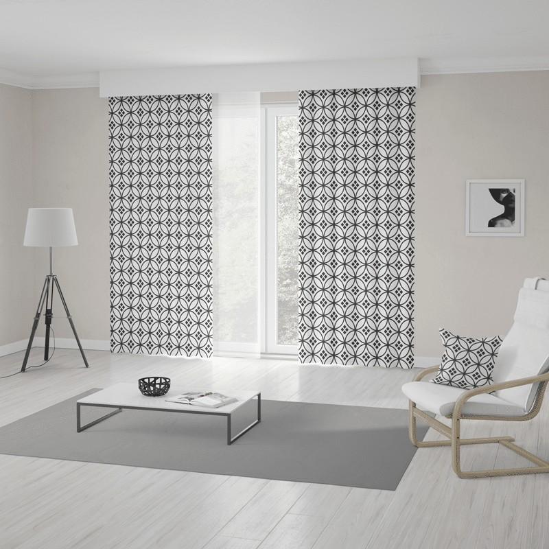 Moderní skandinávské závěsy šité na míru s trendy bílo černým vzorem