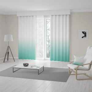 Elegantní závěsy šité na míru tyrkysově bílém ombré designu