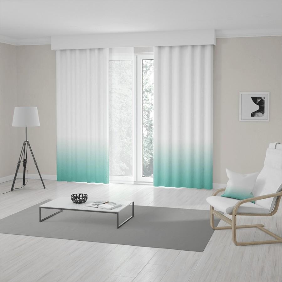 Moderní tyrkysově bílé závěsy šité na míru v módním ombré designu