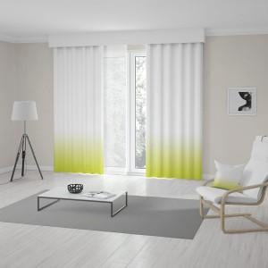 Unikátní zeleno žlutý ombré závěs do obýváku šitý na míru