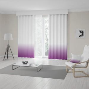 Originální závěsy do obýváku šité na míru v ombré bílo fialové barvě