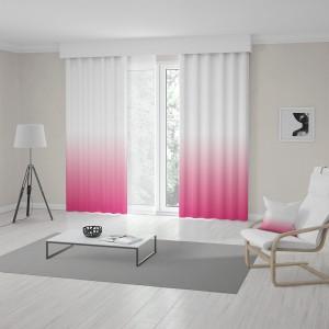 Dekorativní závěsy do obýváku v růžové barvě s módním ombré efektem