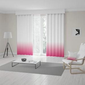 Ombré bílo růžové závěsy do obýváku šité na míru