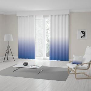 Stylové bílo modré závěsy šité na míru s vyšším Ombré efektem