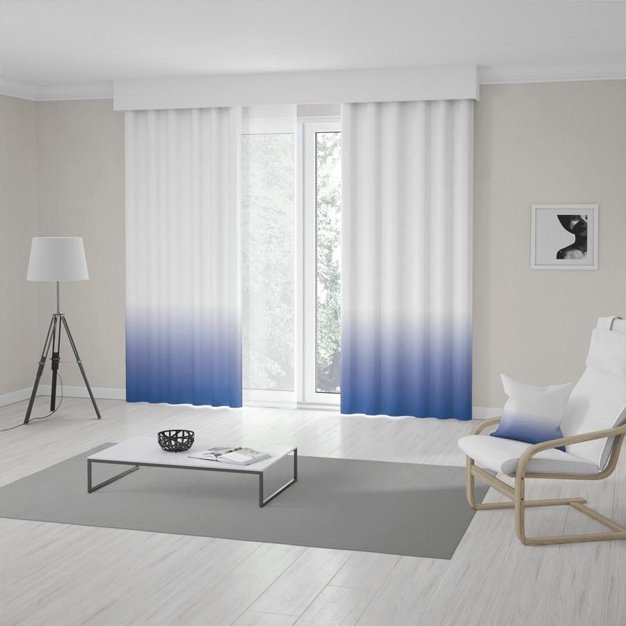 Unikátní bílo modré ombré závěsy šité na míru